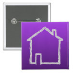 House Sketch. Gray and Purple. Button