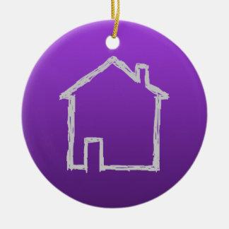 House Sketch. Gray and Purple. Ceramic Ornament