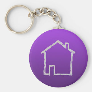 House Sketch. Gray and Purple. Key Chain