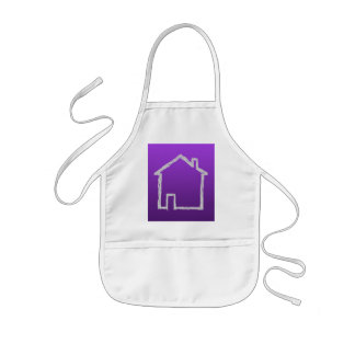 House Sketch. Gray and Purple. Kids' Apron