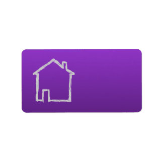 House Sketch. Gray and Purple. Label