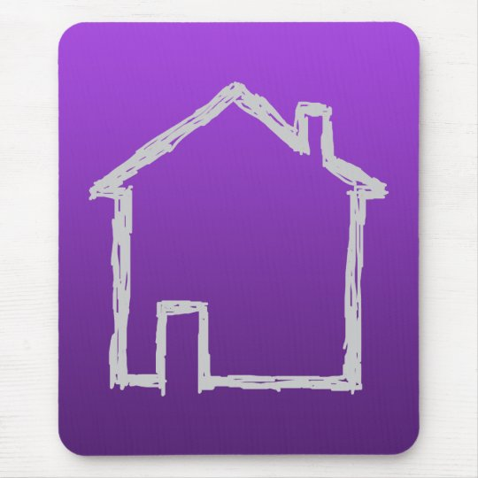 House Sketch. Gray and Purple. Mouse Pad