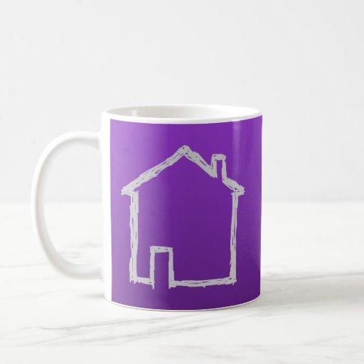 House Sketch. Gray and Purple. Mugs