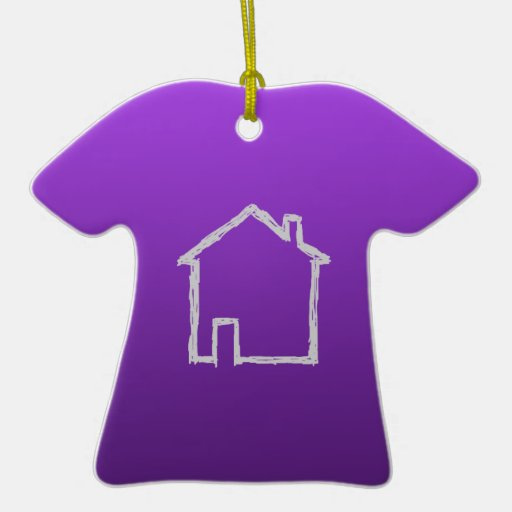 House Sketch. Gray and Purple. Double-Sided T-Shirt Ceramic Christmas Ornament