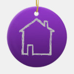 House Sketch. Gray and Purple. Double-Sided Ceramic Round Christmas Ornament