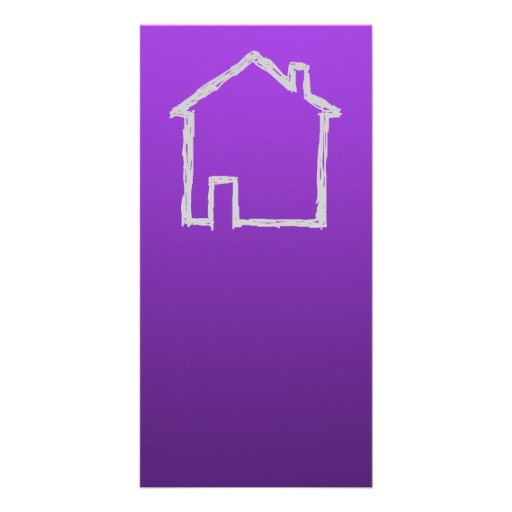 House Sketch. Gray and Purple. Photo Card