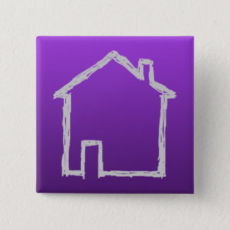 House Sketch. Gray and Purple. Pinback Button