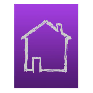 House Sketch. Gray and Purple. Postcard