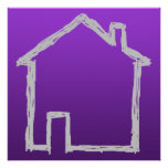 House Sketch. Gray and Purple. Poster