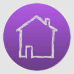House Sketch. Gray and Purple. Classic Round Sticker