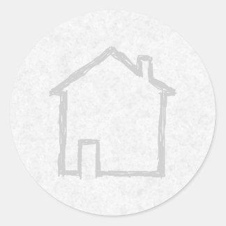 House Sketch. Gray. Classic Round Sticker