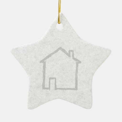 House Sketch. Gray. Double-Sided Star Ceramic Christmas Ornament
