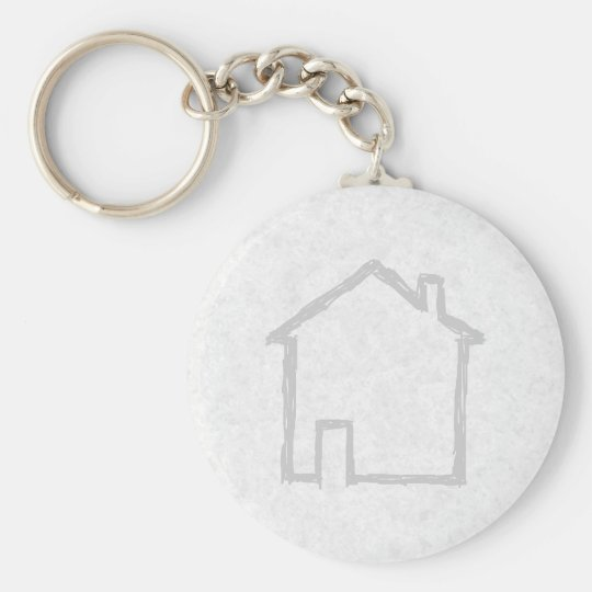 House Sketch. Gray. Keychain