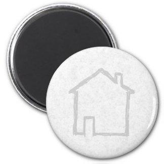 House Sketch. Gray. Fridge Magnets