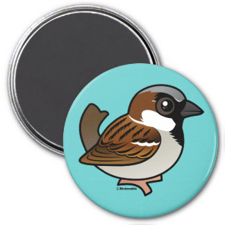 House Sparrow 3 Inch Round Magnet