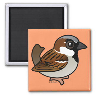 House Sparrow 2 Inch Square Magnet