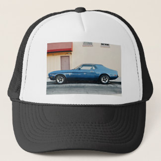 House Themed, A Blue Car Is Parked On Road Side, I Trucker Hat
