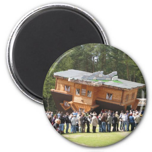House Upside-Down 2 Inch Round Magnet