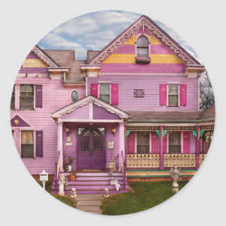House - Victorian - I love bright colors Classic Round Sticker