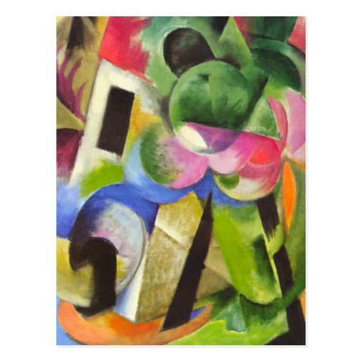 House w Trees by Franz Marc, Vintage Abstract Art Post Cards