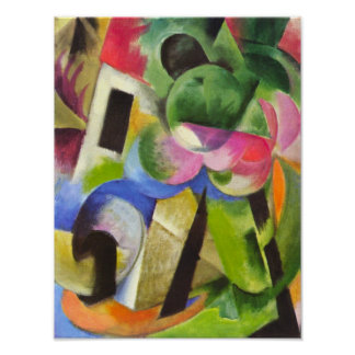 House w Trees by Franz Marc, Vintage Abstract Art Print