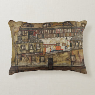 House Wall on River by Egon Schiele Decorative Pillow
