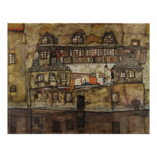 House Wall on River by Egon Schiele Poster
