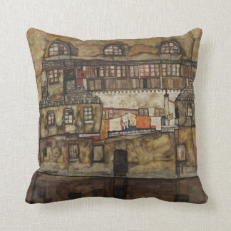 House Wall on River by Egon Schiele Throw Pillow