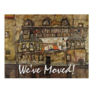 House Wall on River by Schiele, Change of Address Postcard
