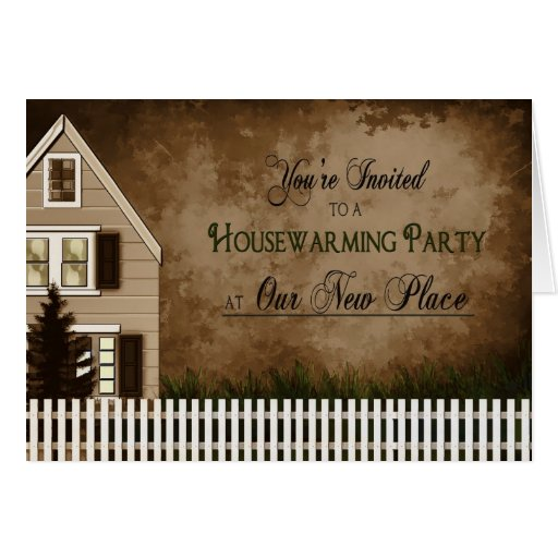 House Warming Invitation - Greeting Card - Brown   Zazzle