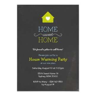 House Warming Invitation, Sweet Home Chalk Style 5x7 Paper Invitation Card