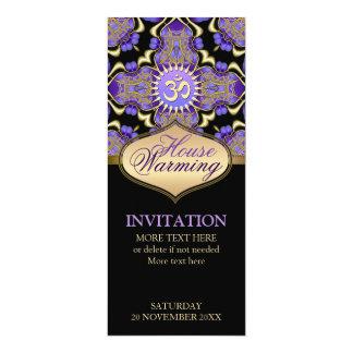 "House Warming Om Purple Gold Party Invitation 4"" X 9.25"" Invitation Card"