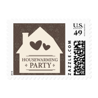 House warming party, cream house with hearts postage stamp