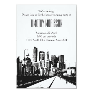 House warming party Invitation black white city