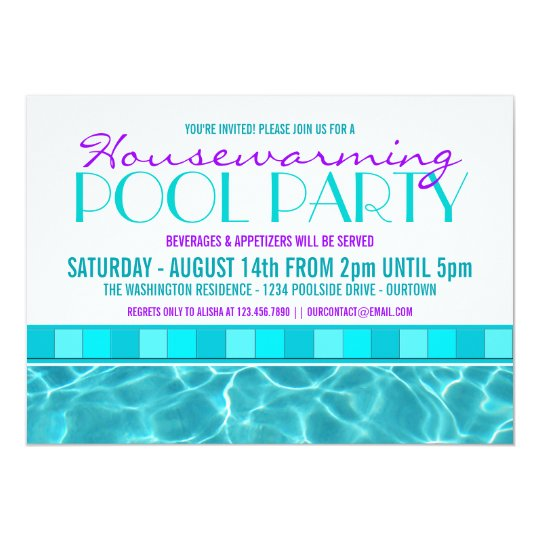 House Warming Pool Party Invitations | Zazzle