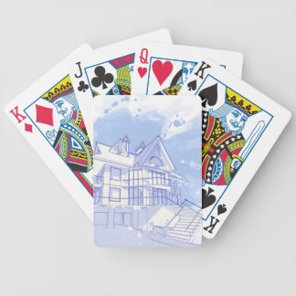 house: watercolor draw bicycle playing cards