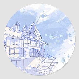 house: watercolor draw classic round sticker