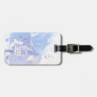 house: watercolor draw travel bag tag