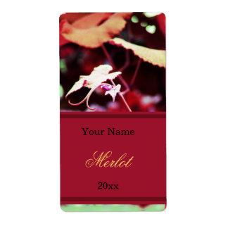 House wine label - grape leaf