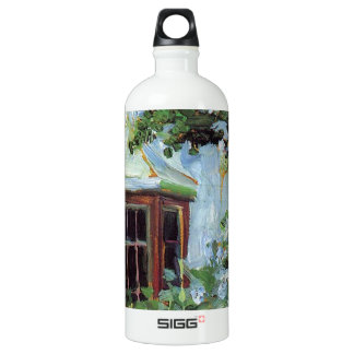 House with a Bay Window in the Garden Aluminum Water Bottle
