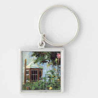 House with a Bay Window in the Garden Keychain