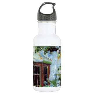 House with a Bay Window in the Garden Water Bottle