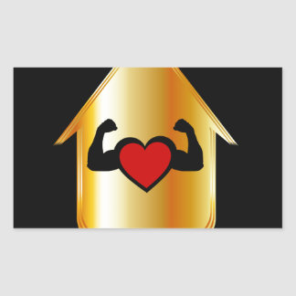 House with a healthy heart rectangular sticker