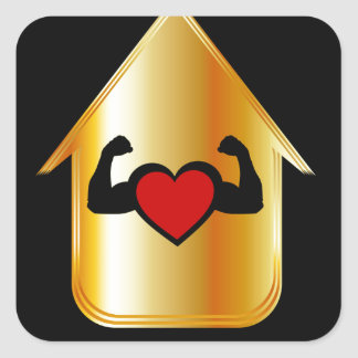House with a healthy heart square sticker