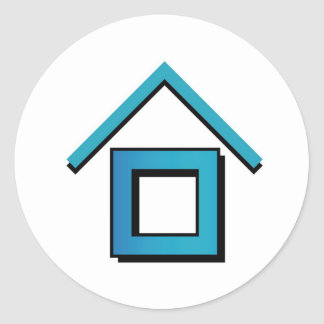 House with a roof classic round sticker