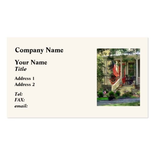 House With Bunting and Flag Business Card Template