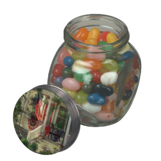 House With Bunting and Flag Jelly Belly Candy Jars