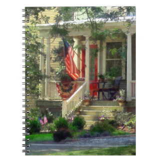 House With Bunting and Flag Note Books
