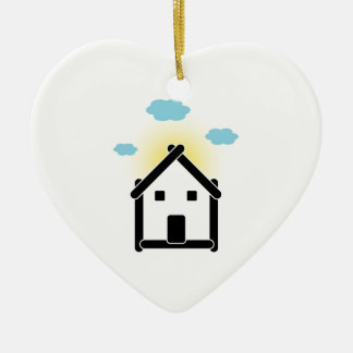 House with cloud and sunlight ceramic ornament