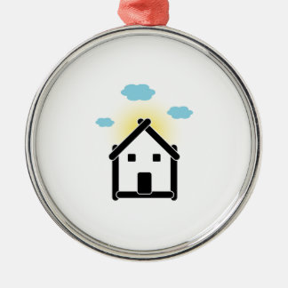 House with cloud and sunlight metal ornament